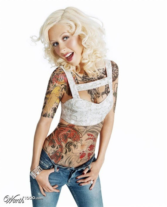 weblinks sk christina aguilera tattoo Potetované celebrity Angelina, Rihanna, Megan Fox, Katy Perry