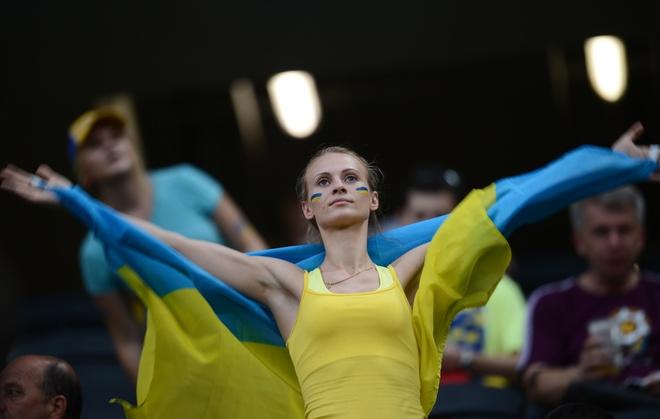 A fan of Ukraine's national football tea